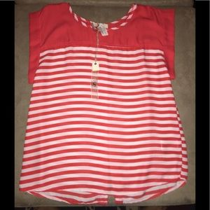 Ya Los Angeles red striped open button back top